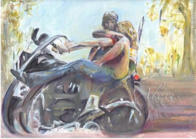 """Biker Babe"". Oil on paper Private Collection"