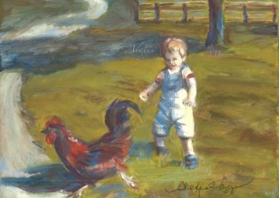 """Little Chicken Chaser"" oil on canvas SOLD"