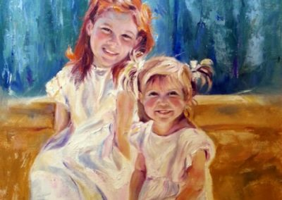 """The Hallman Sisters Portrait"" oil on canvas SOLD"